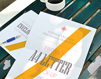 Realistic A4 Letter and Envelope Mockups