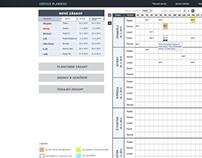 Layout of service plannig tablet app