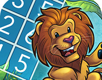 Cartoon Lion Character for Kids' Soduku App