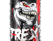 T-Rex Energy Drink, Logo, Packaging, 3D Visualisation