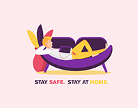 Stay Safe. Stay at Home. Covid19 Infographic
