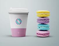 Free Psd Coffee Cup & Macaroons Mockup