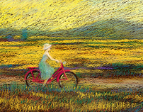 girl with a pink bicycle