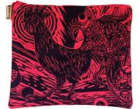 Ayam Cemani / Cottonail Linoleum PrintHandbags