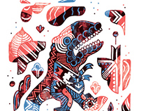 3 x Dino. Limited Run of 20 giclee prints