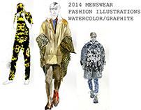 2014 Menswear Watercolor/Graphite Illustrations