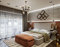 3d Rendering for a contemporary bedroom design.