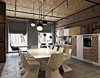 Futuristic 3Ddesign for the Loft Interior.