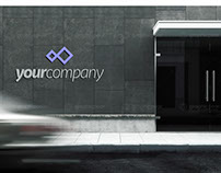 Company Building Entrance Logo Mockup