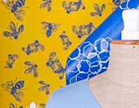 moths and flies PATTERN-hand printed textiles&wallpaper