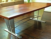 Walnut & Stainless Steel Dining Table