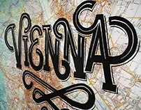 Hand painted lettering on a city map.