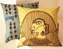 Cushion Covers in Madhubani Painting Technique