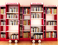 Biblioteca corrediza, para universidades. Renders