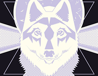 Wolf poster and shirt print.
