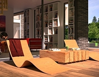 Modern Family House: library terrace