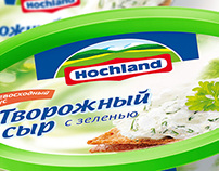Package design for Hochland cream cheese.
