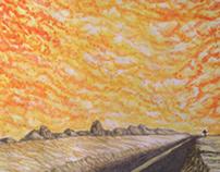 Pink Pyramid Watercolor
