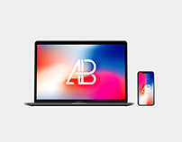 Front View iPhone X and Macbook Pro Mockup