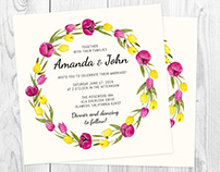 Romantic Watercolor Floral Invitations