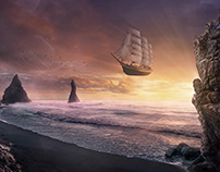 Flying sailing ship