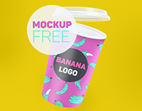Mockup free download cups for popcorn Banana