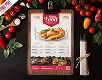 Free PSD : Simple Restaurant Food Menu Flyer Template