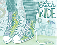 Let's Ride editorial illustration with Chuck Taylors