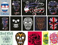 skull graphic design vector art set