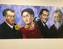 Collaborative High School Mural of Famous Artists