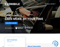 Zoemobile Landing Page Interface Design