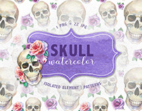 Cool skull print PNG watercolor set