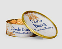 Circle Biscuit and Cookies Tin Container Mockups