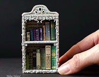 Miniature Libraries with tiny books - Paper Art