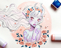 Watercolor demon girls