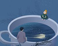 梨夏食言——Ju(julin插画师)食物插画,梨,创意插画,唯美插画,治愈系插画