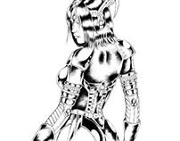 """Leather Sci-fi Girl"" (Pencils, inks)"