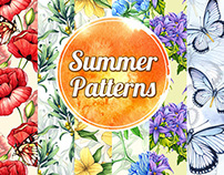 Seamless patterns. Watercolor.