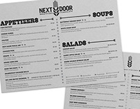 Next Door Brewing Company Menu