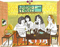 """Björk & Sleater Kinney"" illustration for Bant Mag."