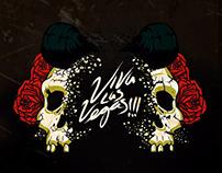 rockabilly skull roses VLV