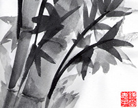 Bamboo Suibokuga (Ink wash painting)