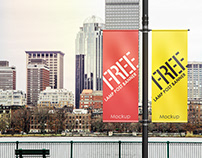 Free Lamp Post Banner Mock-Up