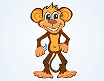 Happy & Funny Monkey Mascot Illustration