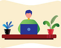 Flat Design Illustration - Work from Home