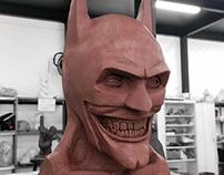 JOKERMAN. The Joker in Batman's suit. clay sculpture.