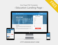 One Page PSD Template - Education Landing Page -