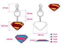 """Man of Steel"" keyrings"