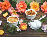 Peach crumbles with coconut whip cream