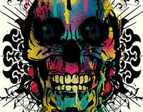 Skull with Drips and Floral Details - Collaboration